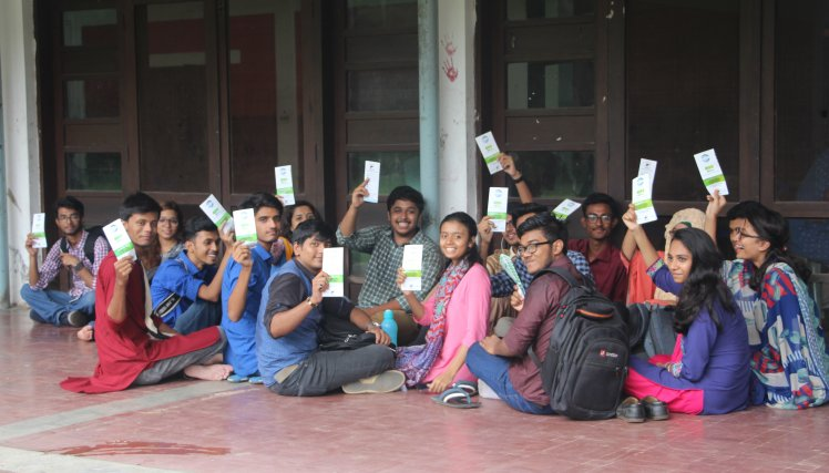 Jubilant University of Dhaka students participating in the NOhep viral hepatitis awareness program at Dhaka, Bangladesh on July 10, 2017. They were enthusiastic to convey the viral hepatitis massage to their family which they learn from the campaign.